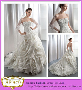 Brand Name Floor Length A-Line Sweetheart Organza Ruffled Wedding Dresses Made in China (WD07)