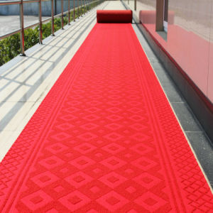 Indoor Outdoor PVC Rubber Backed Ribbed Textile Soft Carpet Tiles pictures & photos