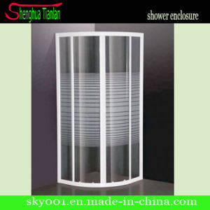Simple No Tray Quadrant Stripe Tempered Glass Shower Screen (TL-412) pictures & photos