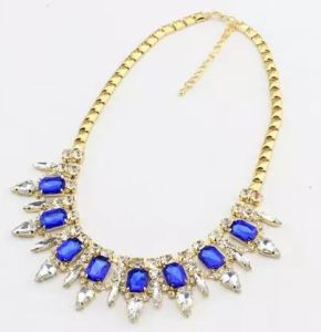 Fashion Jewelry Shining Blue Crystal Necklace (XL7201)