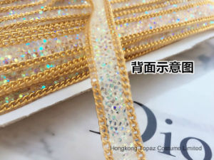 Free Samples New Arrival 1.6cm Width Clear Crystal Ab Mesh on Suede Backing Rhinestone Ribbon (HF-crystal ab strip) pictures & photos