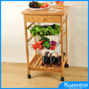 New Brand Bamboo Kitchen Trolley with Three Layers pictures & photos