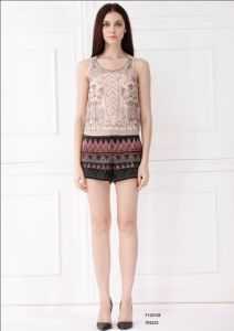Fashion European Style Women Round Neck Sleeveless Blouse (F100108)