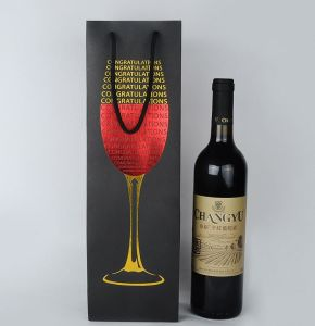 Wine Bottle Paper Packaging Bag with Foli Hot Stamping pictures & photos