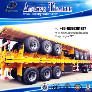 3 Axle 50t Container Dedicated Flat Lowbed Semi Trailer (suitable for 48 feet container) (LAT9371TJZG) pictures & photos