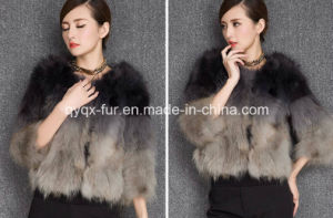 Women′s Three Quarter Sleeve Raccoon Fur Coat Gradient Color pictures & photos