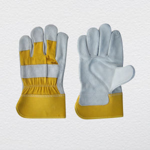 CE Approved Cow Split Leather Work Glove Cotton Back pictures & photos