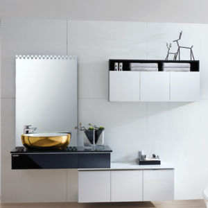 Oppein Modern Black and White Wood Lacquer Bathroom Cabinet (OP13-057-200) pictures & photos