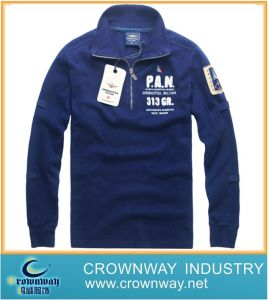 Men Autumn Embroidered Cotton Sweater with Metal Zip pictures & photos