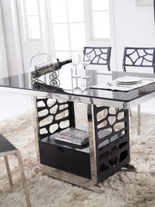 현대 Metal Frame 및 Glass Top Dining Table 147 – 현대 Metal Frame 및 Glass Top ...