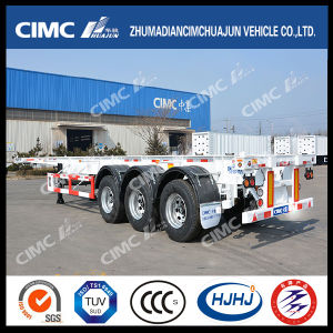 Cimc Huajun 3axle 40FT Skeleton Trailer with Single Tire pictures & photos
