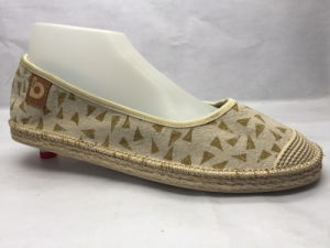 Fashion and Concise Green Jute Lady Shoes (23LG1708) pictures & photos