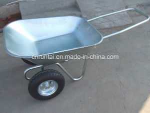 Galvanized Tray and Frame Double Wheels Wheelbarrow (WB6211) pictures & photos