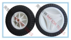 6 Inch PU Foam Rubber Trolley Wheel with White Color Offset Hub Rim pictures & photos