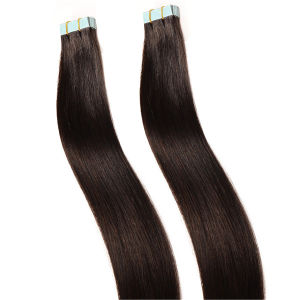 "1# 18"" Jet Black Color Indian Remy Beauty Velvet Extensions 20PCS Pk Hot Promotion 2016 Natural Black Straight Hair Tape Hair pictures & photos"