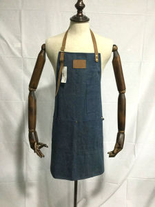 Custom Coffee Shop Denim Apron with Leather Wholesale pictures & photos