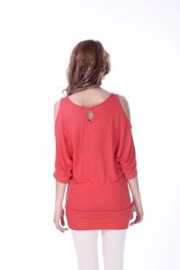 Women Three Quarter Sleeves Cold Shoulder Pink Blouse Top pictures & photos