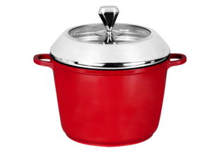 Nonstick Casting Aluminum Serving Pan with Red Outside Coating pictures & photos