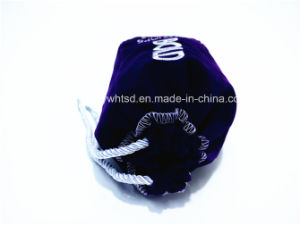 Flocking Fabric Embroider with Satin Lining Rope Bottle Bag pictures & photos