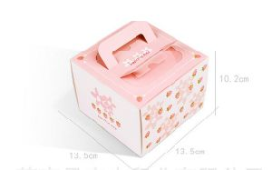 Custom Square Color Large Gift Cardboard Cake Boxes with Handle pictures & photos