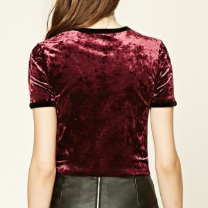 Ladies Fashion Velvet Short Sleeves T-Shirt Blouse pictures & photos