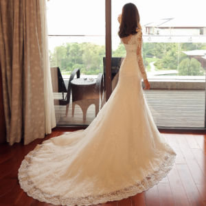 Stunning Crystal Beaded Slim Lace Sleeves Trumpet Bridal Wedding Dress pictures & photos