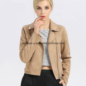 Fashion Women Suede Lapel Jacket Outer Wear Outdoor Coat pictures & photos