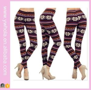 Plus Size Xmas Snowflake Fleece Warm Stretch Pants (14341) pictures & photos