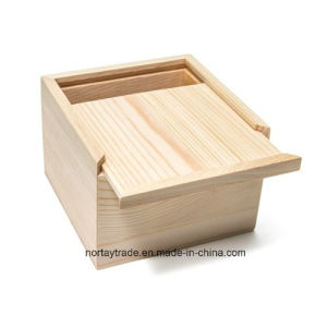 Unfinished Pine Wood Box with a Sliding Lid pictures & photos