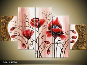 Abstract Fabric Painting Designs 5 Panel Living Room Wall Art Handmade Oil Painting Red Flowers