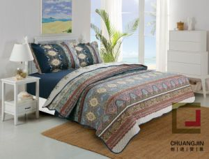 Printed Ultrasonic 100% Microfiber Fabric Quilt/Bedding Set pictures & photos