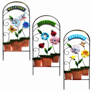 "Metal Flowerpot ""Welcome""Garden Fence Craft with Cloth Flower pictures & photos"