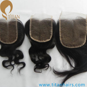Indian Virgin Hair Middle Part Lace Closure with Baby Hair pictures & photos