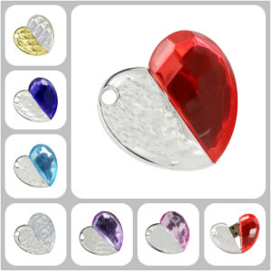 Jewelry Heart USB Flash Drive Crystal Heart Flashdisk Necklace pictures & photos