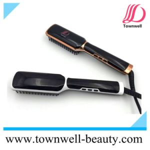 LCD Hair Straightener Brush with Ionic Function pictures & photos