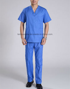 Short Sleeve Cotton Split Type Scrub Suit for Surgery pictures & photos