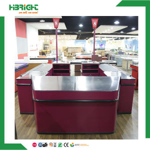 Supermarket Electrical Double Sided Checkout Counter with Conveyor Belt pictures & photos