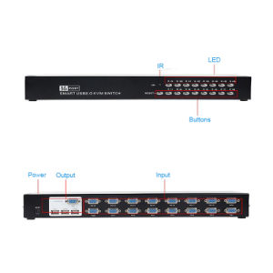 16 Port Smart USB2.0 Kvm Switch VGA Switch Controller pictures & photos