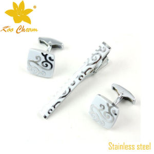 Tieclip-018 Stainless Steel Cufflinks and Tie Clip Set pictures & photos