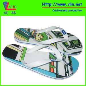 Branded Rubber Flip Flops with Printing on Insole pictures & photos