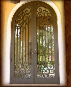 Luxury Artistical Double Entry Wrought Iron Door for House pictures & photos