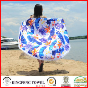 2017 New Printed Microfiber Round Beach Towel with Tassel Df-B108 pictures & photos