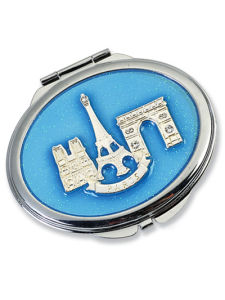 Blue Oval Makeup Mirror with Paris Scene (MX101B) pictures & photos