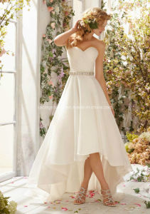 Organza Tea-Lenght Sweetheart Princess Wedding Bridal Dress pictures & photos
