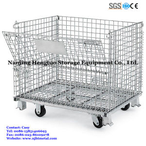 Foldable & Stackable Wire Mesh Pallet Cage for Warehouse Storage pictures & photos