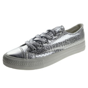 Silver Snake PU Lace up Vulcanized Shoes for Womens