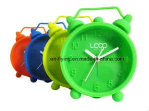 Wholesale Fluencent Color Home Decoration Twin Bell Silicone Mini Table Alarm Clock pictures & photos