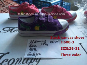 Latest Cheap Children Stock Casual Sports Shoes Injection Canvas Shoes (H600-3) pictures & photos