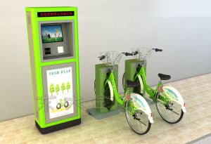 Public Bicycles-Fluorescent Blue Ordinary Steel Pipe Single Lock Double Column pictures & photos