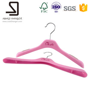 Very Cheap Plastic Hanger for Lady Clothes, Rose Red Kids Clothes Hanger pictures & photos